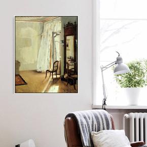 门采尔《有阳台的房间》德国写实派现代油画静物装饰画抽象画壁画