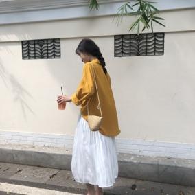 【BP】韩国chic早秋小清新纯色百搭长袖衬衫+优雅缎面褶皱半身裙