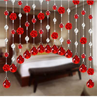 Crystal bead curtain rose partition curtain decorative curtain screen aisle living room bedroom curtain bathroom free punch