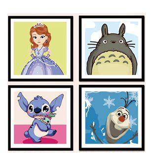 diy数字油画 儿童房卡通小动物狗猫萌宠物数码手绘填色装饰画