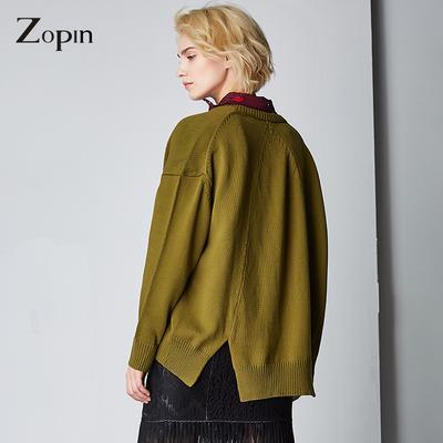 新款 简约欧美不规则宽松蝙蝠袖百搭长袖针织开衫 女中长款外套