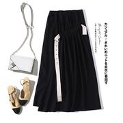 彩森●乐 聚集时尚焦点~褶裥设计高腰半身裙秋侧边高开叉纯色长裙