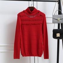 彩森自营店 E系列专柜撤柜 冬季红色毛衣女高领打底衫针织羊毛衫