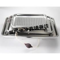304不锈钢茶盘带排水管球 长方形加厚双层茶池功夫茶具茶台茶托盘