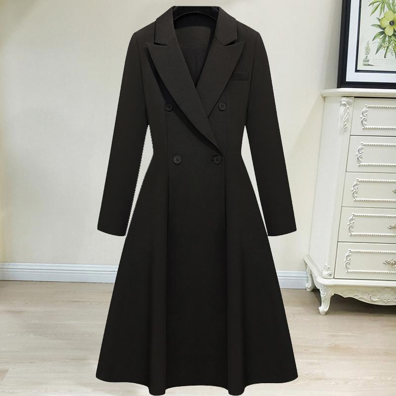 特大码连衣裙女胖妹妹中长款春装韩版宽松显瘦西装风衣外套200斤