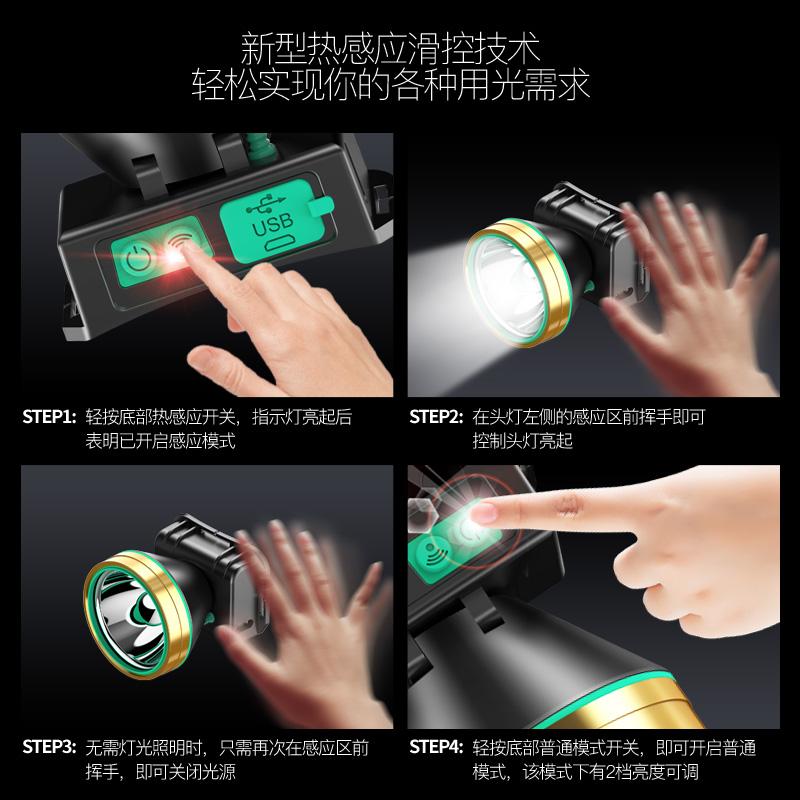 LED头灯强光充电防水感应头戴式手电筒超亮钓鱼米小氙气矿灯3000