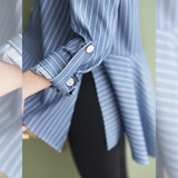 BELLYWEAR Pregnant Women's Clothes Early Autumn Shirt Fashion Simple Loose Stripe Nine-Sleeve Pregnant Women's Short Shirt
