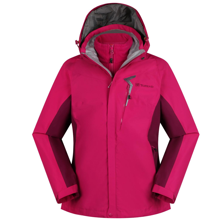 探路者冲锋衣女装2019户外运动三合一防风透气夹克外套KAWG92104