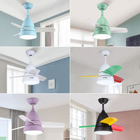 Restaurant bedroom with lamp fan lamp ceiling fan light children's room Nordic home modern minimalist living room small fan chandelier