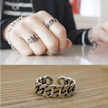 Korean 925 Silver Ring Chain Braided Opening Ring Thai Silver Retro Broad Ring Female Silver Ring Personality Fashion