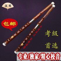 调苦竹笛两节白铜双插学生横笛F声聆品牌专业级演奏笛子精制