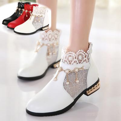 韩版2018春秋新款皮鞋女童短靴女孩单靴子高跟蕾丝公主百搭中大童