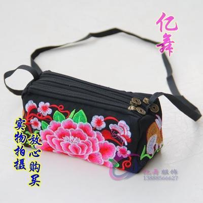 热卖小号三拉链民族风钱包女士包袋零钱手机袋手拿小包刺绣花包包