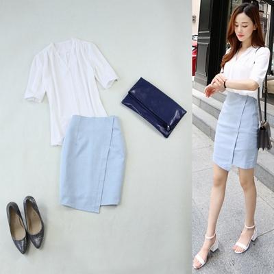包邮大码女装2018春新款OL白色V领简约半袖衬衣+包臀半身裙套装