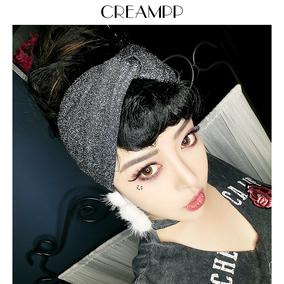 CREAMPP 原创欧美复古女王范金银亮丝加宽版内口交叉弹力头巾发带