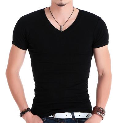 紧身T恤男短袖V领健身上衣韩版修身型男装运动体恤衫大弹力莱卡棉