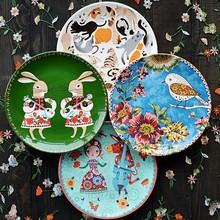埃兰迪尔北欧乡村风格釉下彩陶瓷餐具西餐盘家用菜盘早餐点心盘子