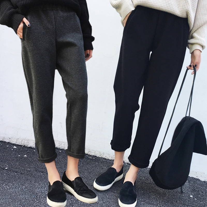 呢子女裤冬