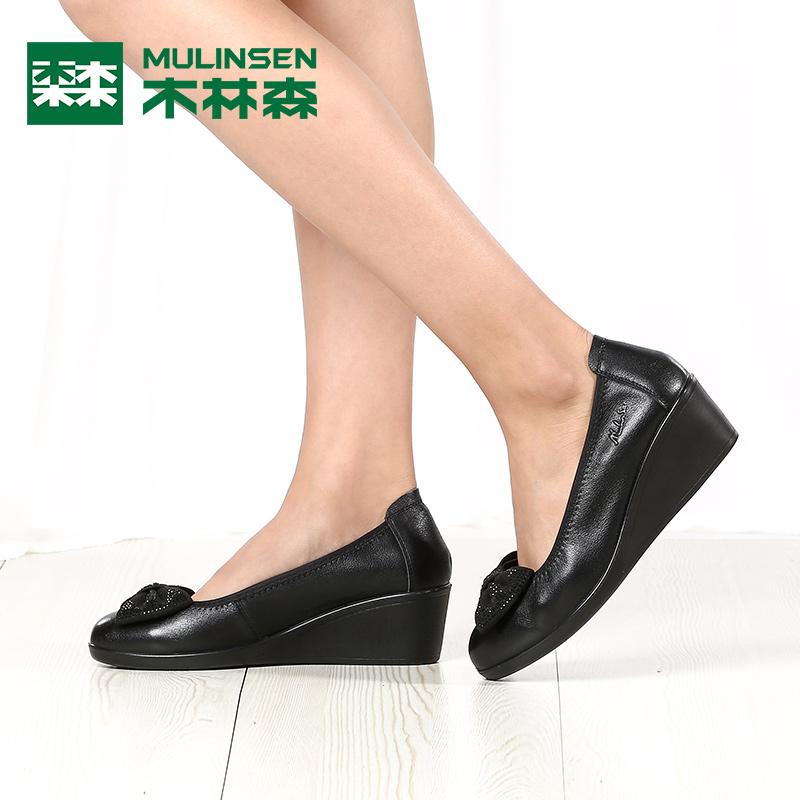 软底舒适休闲鞋 秋季新款 女浅口真皮圆头妈妈鞋 坡跟单鞋 木林森女鞋