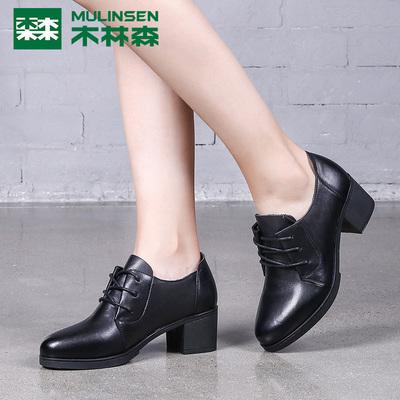 木林森粗跟单鞋女真皮中跟圆头女鞋英伦系带深口单鞋百搭小皮鞋女