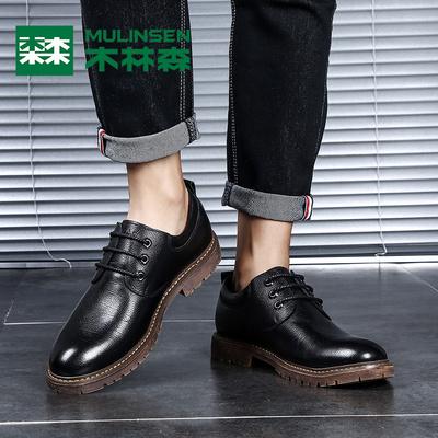 木林森皮鞋男秋季新品韩版潮流休闲皮鞋男士商务耐磨百搭男鞋子潮