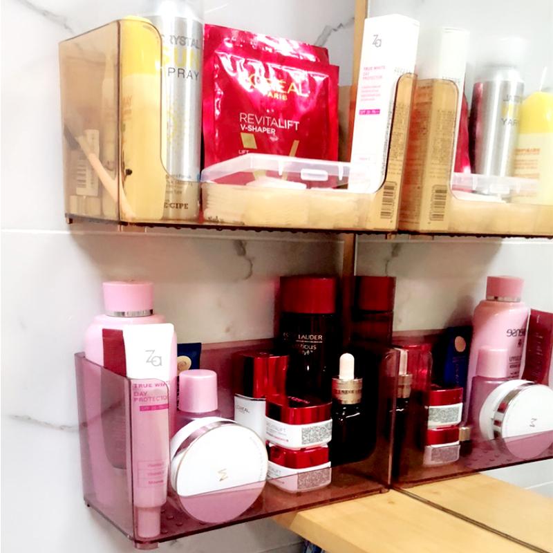 化妆品收纳盒洗手间洗漱台吸壁式护肤盒浴室免打孔面膜置物架壁挂