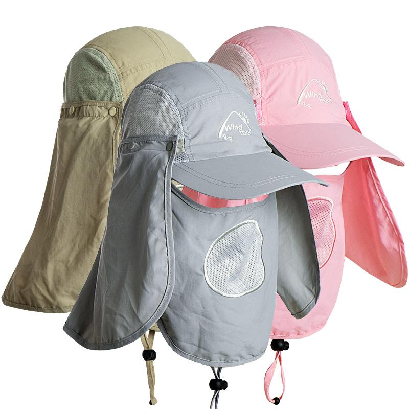 春夏季户外防晒帽运动帽子遮阳帽钓鱼防蚊太阳帽透气可拆卸男女帽