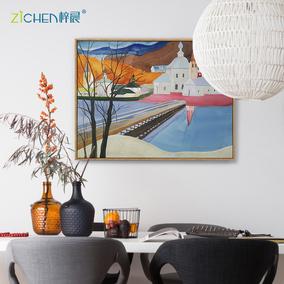 梓晨x搜猎人原作版画签约艺术家客厅装饰画沙发背景油画餐厅壁画