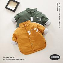 小男童夹棉衬衫单排扣婴儿童衬衣领外套秋冬季宝宝薄棉棉衣宽松潮