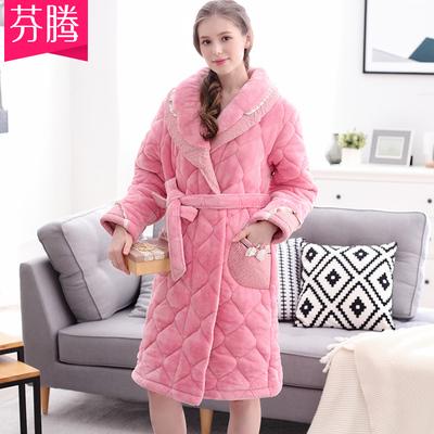 芬腾睡衣女冬季珊瑚绒夹棉纯色中长款睡袍可爱浴袍保暖加厚家居服