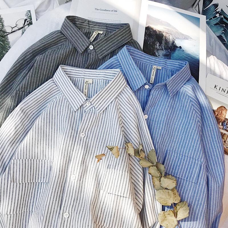 2018春季新款日系小清新条纹长袖衬衫男韩版青年学生衬衣抽绳上衣