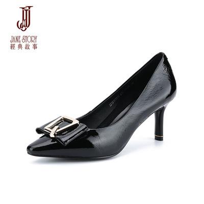 经典故事2018夏季新款时尚高跟鞋性感小皱漆皮单鞋欧美优雅女鞋