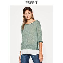 ESPRIT女装甜美拼接下摆圆领七分袖T恤-087EE1K022