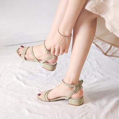凉鞋女夏平底仙女鞋复古2018新款蝴蝶结一字带chic中跟粗跟罗马鞋
