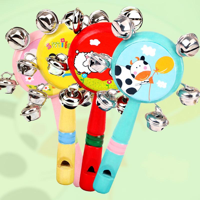 木制婴儿玩具套装拨浪鼓木质手摇铃哑铃沙锤七彩铃铛宝宝早教玩具