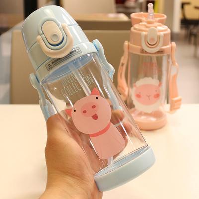 卡通水杯儿童吸管杯背带随行杯可爱萌学生夏天喝水杯子运动水壶新款推荐
