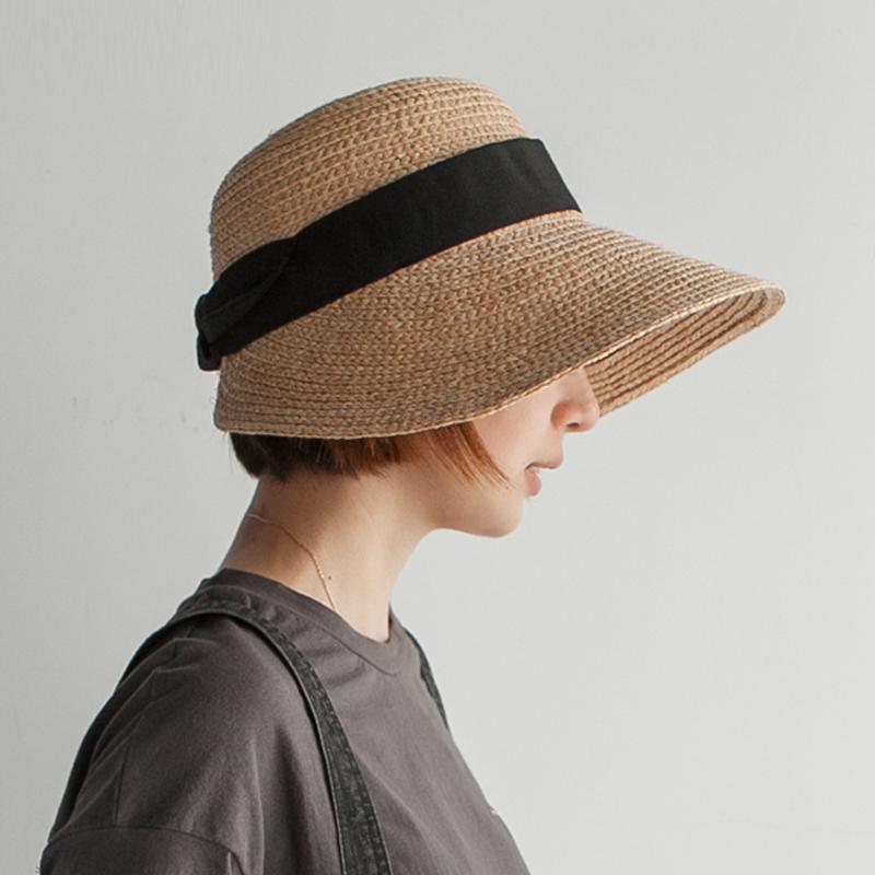 大蝴蝶结遮阳帽草帽