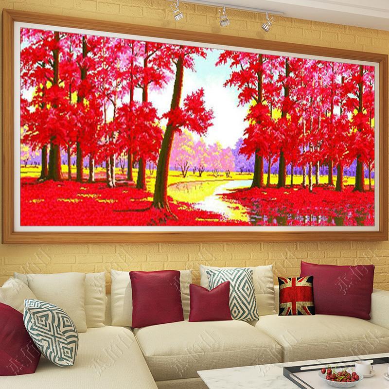 十字绣客厅枫叶红