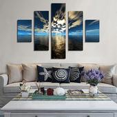 簡約純手繪油畫客廳無框畫裝 飾畫壁畫5拼畫現代不規則風景畫掛畫