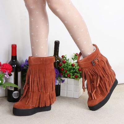 坚城2018冬季靴子内增高防水台流苏靴坡跟皮带扣中筒加绒棉靴真皮