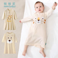 Children's nightgown summer thin baby pajamas long-sleeved children's cotton baby spring and autumn boy air conditioning service nightdress