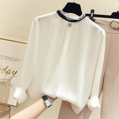 2018秋季新款韩国气质显瘦圆领系带钉珠纯色雪纺衫女薄款套头衬衣