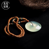 Natural jade peace buckle 岫 jade ice species pendant sweater chain necklace snowflake cotton female men's gift package custom