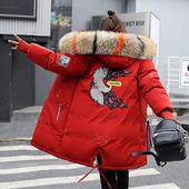 宽松棉袄 加厚冬季羽绒棉服女大毛领韩版 反季棉衣女中长款 2019新款图片