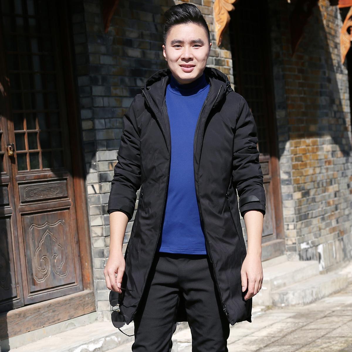 雪丘岛户外秋冬新款中长款纯色羽绒服加厚保暖防寒开衫外套男士