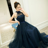 Long evening dress 2019 bride dress skirt host dress female banquet toast clothing Slim thin bridesmaid dress spring