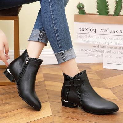 短靴女秋冬2018新款粗跟韩版马丁靴女单靴真皮靴裸靴低跟加绒女靴