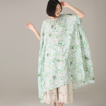 米可可Q1292文艺大码圆领碎花A版短袖抽褶棉麻连衣裙女 2018夏图片
