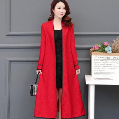蕾丝衫女中长款2018春季新款韩版显瘦时尚春秋外套长袖风衣外披肩