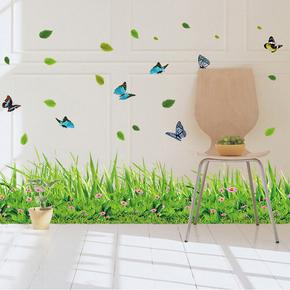 清新绿色花草踢脚线卧室客厅可移除装饰贴画防水贴纸楼梯墙角墙贴